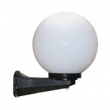 Уличный настенный светильник НБУ 01-60-200 230V E27 с шаром ф 200мм ПММА с датчиком движения, крепежом на стену WMU1 и основанием