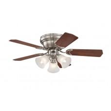 Люстра - вентилятор Westinghouse Trio (72073WES) ∅ 90 см, хромированный матовый/махагон/бук, 3 плафона, 5 лопастей