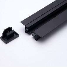 Шинопровод встраиваемый для трековых светильников, черный, 2м,  в наборе токовод, заглушка, крепление, CAB1004