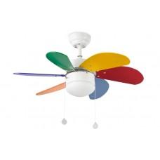 Люстра с вентилятором Faro Palao Multicolor 33179FAR Ø 81 см, белый/разноцветный, 1 плафон, 1 лампа, 6 лопастей