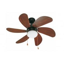 Люстра с вентилятором Faro Palao Marron 33185FAR черный, Ø 81 см, коричневый/венге, 1 плафон, 1 лампа, 6 лопастей