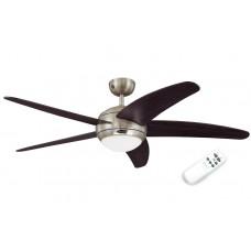 Люстра с вентилятором Westinghouse Bendan 72557WES ∅132 см, матовый никель/венге, 1 плафон, 1 лампа, 5 лопастей