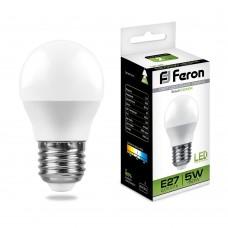 Лампа светодиодная Feron LB-38 Шарик E27 5W 4000K