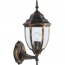 Светильник садово-парковый Feron PL6001 шестигранный на стену вверх 60W E27 230V, черное золото