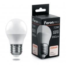 Лампа светодиодная Feron.PRO LB-1407 Шарик E27 7.5W 4000K