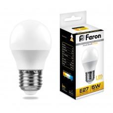 Лампа светодиодная Feron LB-38 Шарик E27 5W 2700K