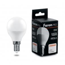 Лампа светодиодная Feron.PRO LB-1406 Шарик E14 6W 6400K OSRAM LED
