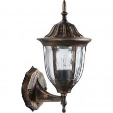 Светильник садово-парковый Feron PL6301 шестигранный на стену вверх 60W E27 230V, черное золото