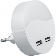 Светильник ночник Feron c 2мя USB выходами, FN1122 0,45W 230V, белый