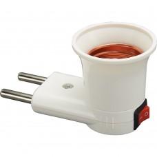 LH61 Патрон-переходник с E27 на розетку (для лампы E27), с выключ., 230V, пластик, белый, 40*60мм