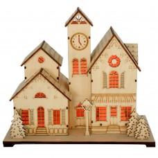 Деревянная световая фигура, 5LED, цвет свечения: теплый белый,  25*13*25 см, батарейки 2*AA , IP20, LT095