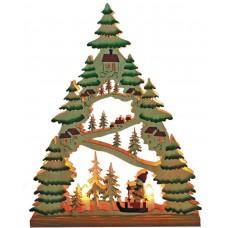 Деревянная световая фигура, 7 ламп С6, цвет свечения: теплый белый,  31*5*38,5 сm, шнур 1,4 м , IP20, LT086
