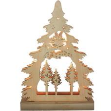 Деревянная световая фигура, 7 LED, цвет свечения: теплый белый,  22,5*4,5*32 сm, батарейки 2*AA , IP20, LT081