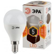 LED P45-5W-827-E14 ЭРА (диод, шар, 5Вт, тепл, E14) (10/100/3600)