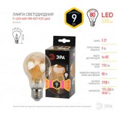 F-LED A60-9W-827-E27 gold ЭРА (филамент, груша золот., 9Вт, тепл, Е27) (10/100/1500)