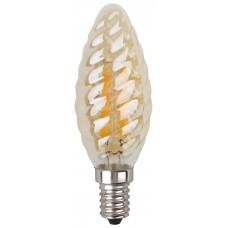 F-LED BTW-5W-827-E14 gold ЭРА (филамент, свеча витая золот., 5Вт, тепл, E14) (10/100/2800)