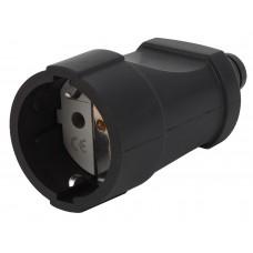 Rx4-B ЭРА Rx4 ЭРА Розетка кабельная с/з прямая ПВХ 16A черная (20/320/2560)
