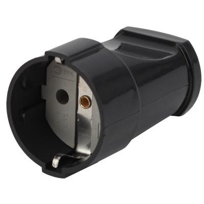 Rx2-B ЭРА Rx2 ЭРА Розетка кабельная с/з прямая 16A черная (24/384/4608)