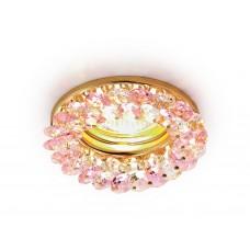 Встраиваемый точечный светильник K206 PI/G золото/розовый хрусталь MR16