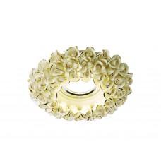Встраиваемый потолочный точечный светильник D5505 W/G белый/золото керамика