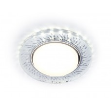 Встраиваемый точечный светильник с LED подсветкой G224 CL/FR прозрачный/матовый GX53+3W(LED COLD) D120*38