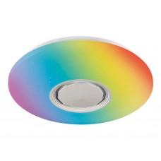 Музыкальный светодиодный светильник c подсветкой RGB FF200 WH/CH белый 48W D395*80 (ПДУ ИК)