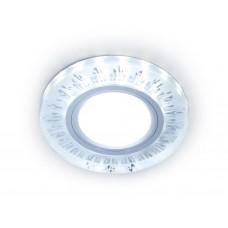 Встраиваемый точечный светильник с LED подсветкой S216 CL/FR прозрачный/матовый GU5.3+3W(LED COLD) D90*25