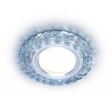 Встраиваемый точечный светильник с LED подсветкой S287 CL прозрачный GU5.3+3W(LED WHITE) D90*25