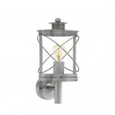 Уличный настенный светильник Eglo Hilburn 1 94865 серебряный состаренный E27 60 Вт