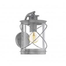 Уличный настенный светильник Eglo Hilburn 1 94866 серебряный состаренный E27 60 Вт