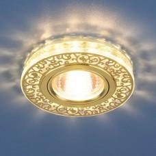 Встраиваемый светильник Elektrostandard 6034 50+3W G5.3+Led подсветка, золото/прозрачный