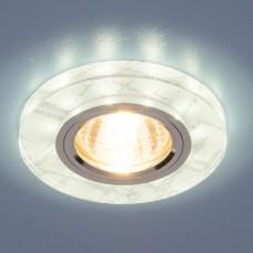 Встраиваемый светильник с LED подсветкой Elektrostandard 8371 50+3W G5.3+Led подсветка, белый, серебро