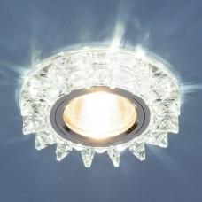 Встраиваемый светильник Elektrostandard 6037 50+3W G5.3+Led подсветка, серебро, зеркальный