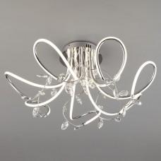 Светодиодный потолочный светильник с хрусталем Eurosvet 90106/7 хром 97W Irvine