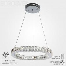 Подвесная светодиодная люстра с хрусталем Eurosvet 90023/1 хром Grasia с пультом