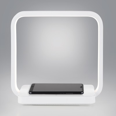 Светодиодная настольная лампа с беспроводной зарядкой QI Евросвет 80502/1 белая Frame 4 Вт 4200К