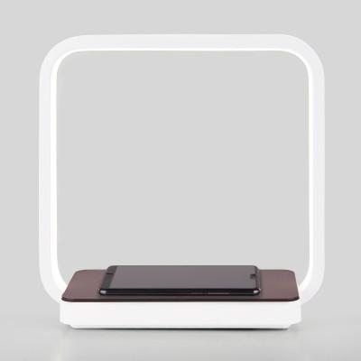 Светодиодная настольная лампа с беспроводной зарядкой QI Евросвет 80502/1 коричневая Frame 4 Вт 4200К