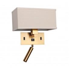 Бра светодиодное Favourite 2225-2W Lectio латунь 1*LED*2W, 4000K + 1*E27*25W, USB