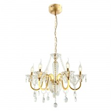 Подвесная люстра с хрусталем Favourite 2425-6P Mieder золото 6*E14*40W + 6*LED*3,75W, 1540LM, 3000K