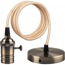 Патрон со шнуром и выключателем Feron LH129 230V E27 длина шнура 1м черное золото (арт. 22366)