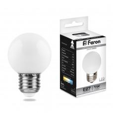 Светодиодная лампа Feron LB-37 1W 230V E27 6400K 70*45мм шарик (арт. 25115)