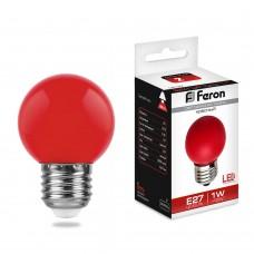 Светодиодная лампа Feron LB-37 1W 230V E27 красный 70*45мм шарик (арт. 25116)