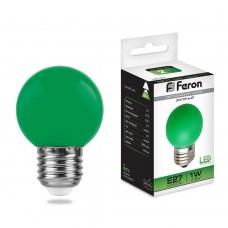Светодиодная лампа Feron LB-37 1W 230V E27 зеленый 70*45мм шарик (арт. 25117)