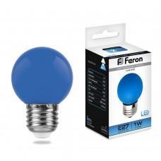 Светодиодная лампа Feron LB-37 1W 230V E27 синий 70*45мм шарик (арт. 25118)