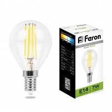 Лампы светодиодные филамен Feron LB-52 7W 230V E14 4000K G45 (арт. 25875)