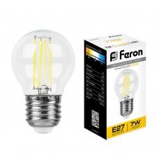 Лампа светодиодная филамент Feron LB-52 7W 230V E27 2700K G45 (арт. 25876)