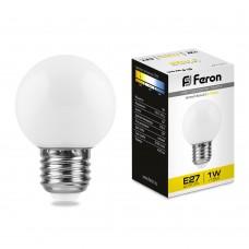 Светодиодная лампа Feron LB-37 1W 230V E27 2700K 70*45мм шарик (арт. 25878)