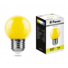 Светодиодная лампа Feron LB-37 1W 230V E27 желтый 70*45мм шарик (арт. 25879)
