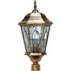 """Садово-парковый фонарь """"Витраж"""" с овалом на стекле Feron PL152 Черное Золото"""