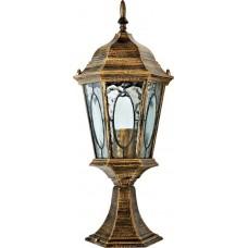 """Садово-парковый фонарь """"Витраж"""" с овалом на стекле Feron PL163 Черное Золото"""